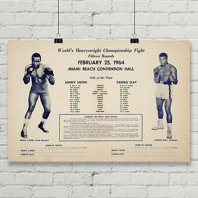 Muhammad Ali vs Sonny Liston Fight Boxing Poster Canvas Art Print Wall Decor