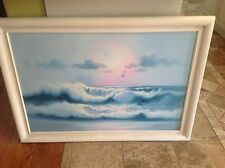 Vintage estate Oil painting seascape beach scene waves breaking on the beach