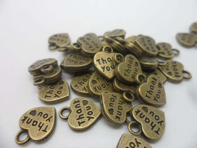 "50 x Antique Bronze ""Thank You"" Heart Double Sided~Charms beads~12x10mm~Crafting"
