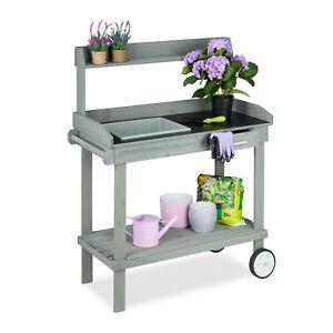 Pflanztisch mit Rollen, Gartenarbeitstisch mit Wanne, Gartenpflanztisch Holz