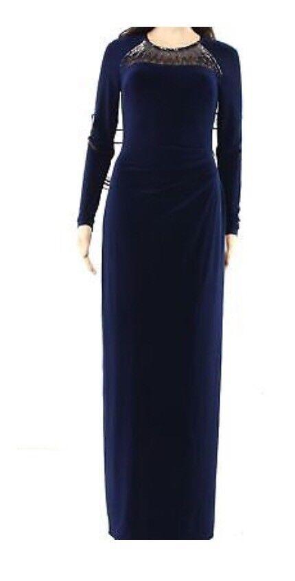 Ralph Lauren 3241 Größe 2 Navy Solid Maxi Dress Embellished Mesh-Detail