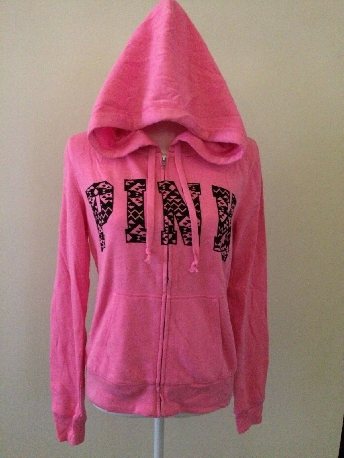 VICTORIA'S SECRET PINK M Limited Edition Perfect Zip Hoodie 2014 Aztec Geometric