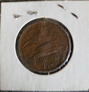 MEXICO-1969-VF-VERY-FINE-NICE-OLD-VINTAGE-20-CENTAVOS-COIN