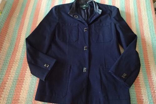 læder Navy Lauren krave Sz Jakke Blue Ralph lynlås an 12 frakke Uqfn8a