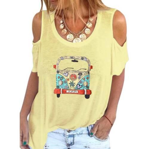 Plus Size Women Cold Shoulder T-Shirt Ladies Summer Loose Blouse Tee Tops Shirt