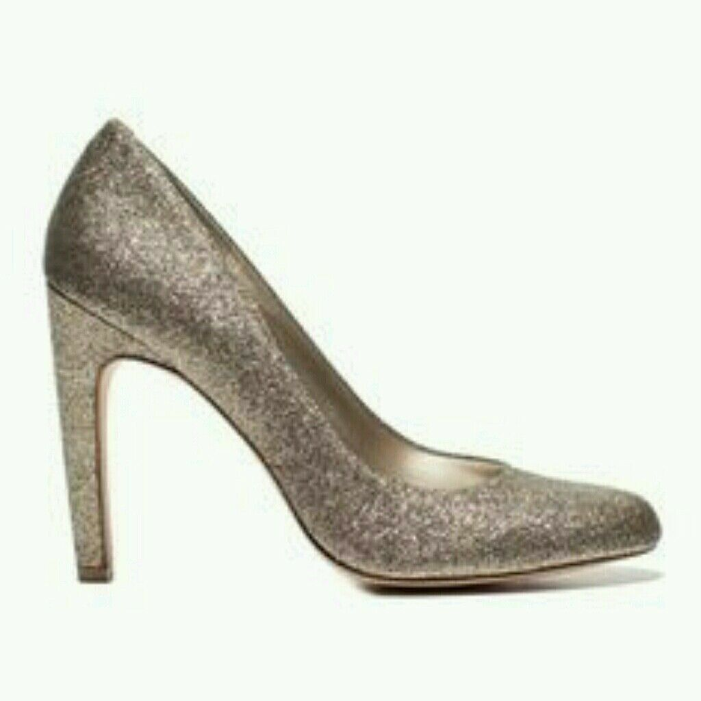 NEW Round-toe Metallic gold Sparkle Heel Pump US 7 (Original price  119)