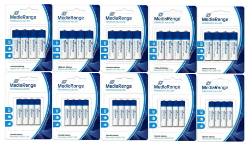 20x AA + 20x AAA 40 Mediarange Premium Alkaline Batterien im 4er Blister