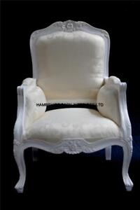 French Chateau Style Ornate Arm Chair Bedroom Antique White ...
