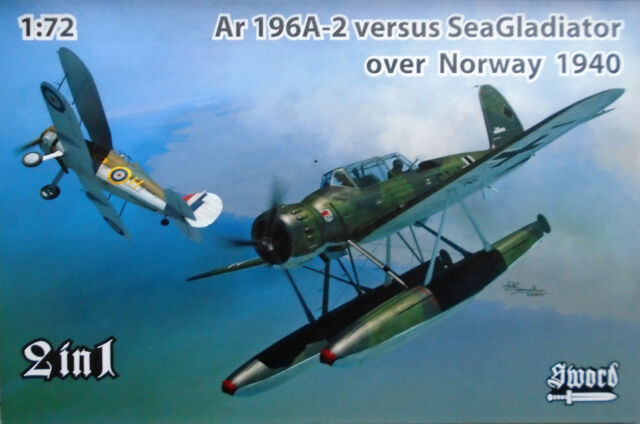 1//72 Sword German Ar 196A 2 VS British SeaGladiator Norway 1940 # 72120 Open Box
