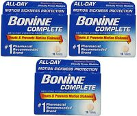 Bonine Motion Sickness Protection Chewable Tablets 16 Tablets Nausea (3 Pack) on sale