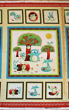 "Woodsy Wonders Owl Fox Bear Henry Glass Baby Fabric 23"" Panel #1000P"