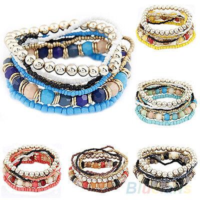 Fashion Women Bohemia Multilayer Acrylic Beads Summer Beach Bracelet Bangle NEW
