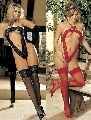 Halter Tie Lace Thong Teddy & Stay Up Sheer Thigh High Stockings One Size 96125