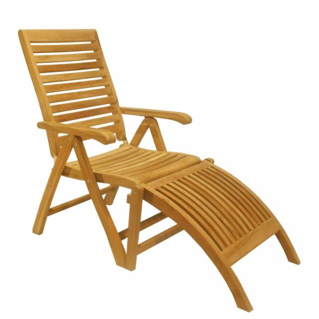 Outdoor A Grade Teak Wood Dining Reclining Folding Ashley Arm Chair W/  Footrest