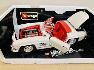 Burago-1957-Cream-Mercedes-Benz-300SL-Roadster-Model-Car-1-18-3023