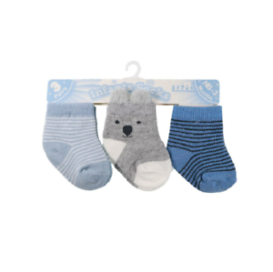 Newborn Baby Boys Ankle High Socks Pack of 3 Blue Cotton Rich Age 0-12 Months