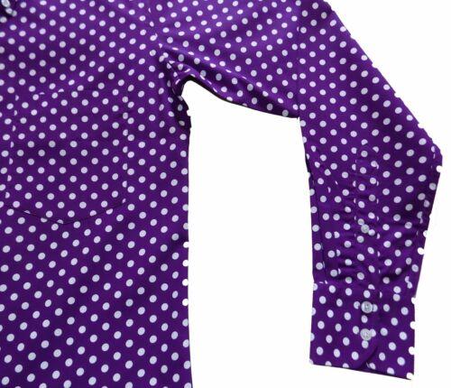 Relco Men/'s Purple /& White Polka Dot Button Down Collar Long Sleeved 60/'s Shirt
