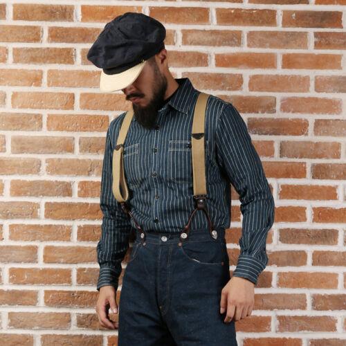 Men's Vintage Workwear Inspired Clothing   NON STOCK Wabash Striped Shirts 40s Mens Vent Hole Long Sleeve Workshirts Blue $45.99 AT vintagedancer.com