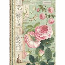 Scrapbooking Pink Roses A4 size ITD R038 Rice Paper for Decoupage