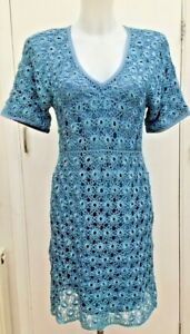 BNWT-New-Designer-Karen-Millen-Pale-Ice-Blue-Crochet-Lace-Dress-Size-3-Fit-12-14