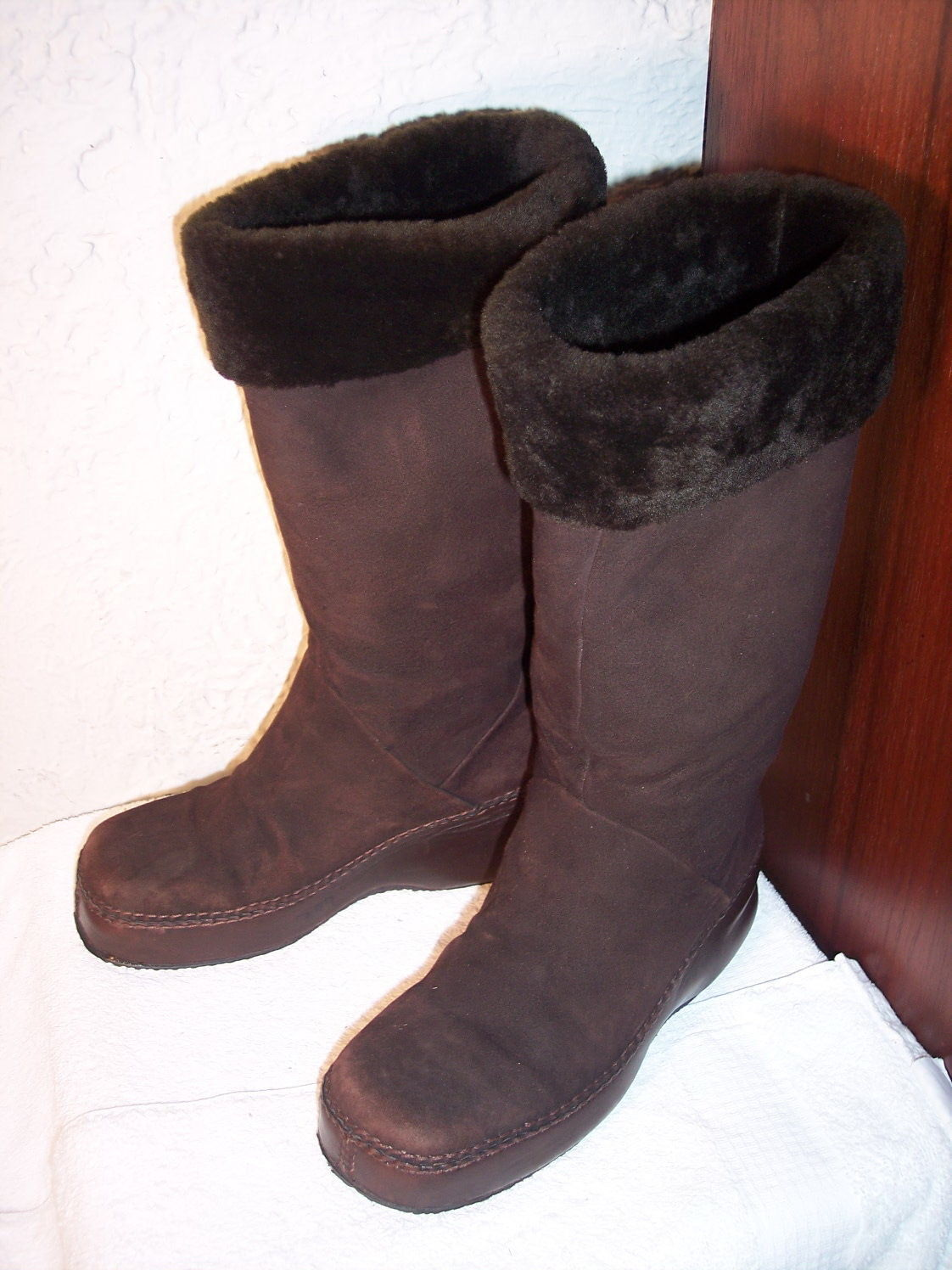 Cole Haan Womans 7.5 AA Shearling Brown Leather Mid-Calf Winter Boots
