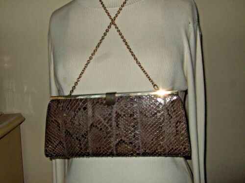 Vintage Mid Century Snake Skin Boxy Handbag Purse