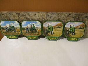John Deere - Coasters , Set of 4, Cork Model A Tractor Model B Tractor EUC