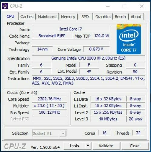 Intel Xeon E5-2683 v4 ES QHZE 2GHz~2.3GHz 16C LGA2011-3 Compatible X99 i7-6950X