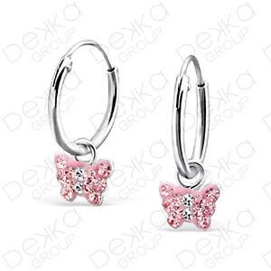 925-Sterling-Silver-12-mm-Sleepers-Hoops-Earrings-Butterfly-Charm-Huggies-Girls