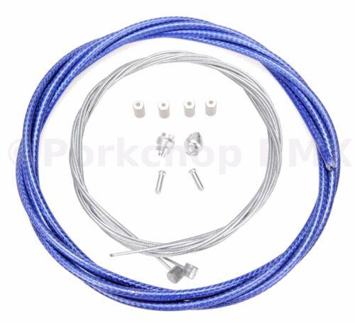 Bicycle 5mm LINED brake cable housing kit BMX MTB COBALT BLUE PURPLE BRAID