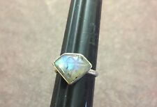 Sterling Silver Flashy Labradorite Gem Diamond Shape Cut Pinky Trendy Ring 5 1/4