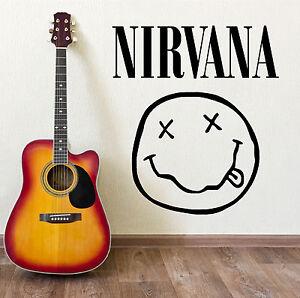 Nirvana-Logo-Cinta-Placa-Frontal-Kurt-Cobain-Vinilo-Adhesivo-mural-Musica