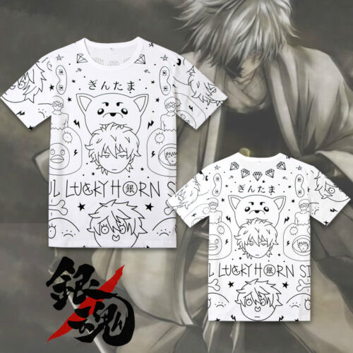 Anime Gintama Sadaharu T-Shirt Cotton Cosplay Mens Summer Basic Tee Shirts Tops