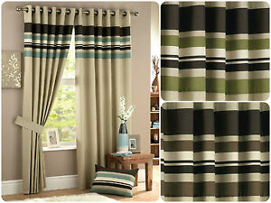 Harvard-Lined-Pair-Ready-Made-Eyelet-Curtains-Horizontal-Stripes-Panel-Beige-New