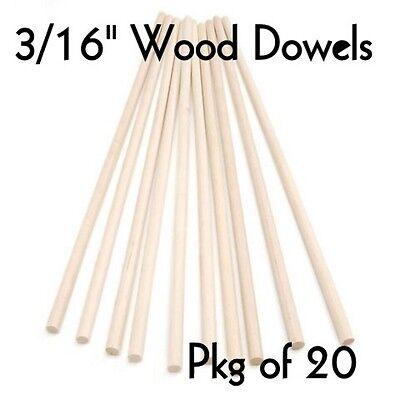 "WOOD DOWELS ~ 3/16"" Diameter x 12"" Long  { Lot of 20 } ~ by  PLD"