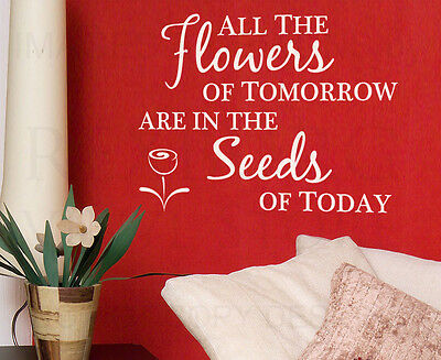 Wall Decal Quote Vinyl Sticker Art Lettering Removable Flowers of Tomorrow IN07