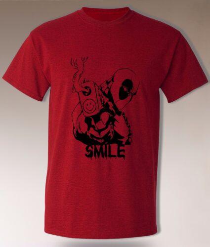 Deadpool t-shirt Wade Wilson Smiley Emoji funny UNIOQUE Design Marvel Super Hero