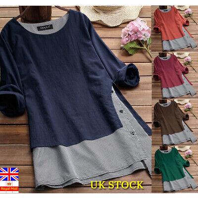 UK Women Cotton Linen Loose Tops Tee Summer Casual Tunic Shirt Blouse Plus Size