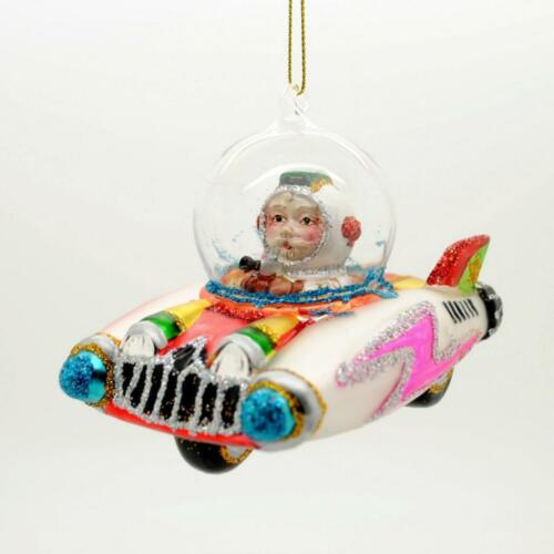 """SANTA CLAUS IN SPACE CAR GLASS ORNAMENT 4.25/"""" NEW Sci Fi Ship Christmas Tree UFO"""