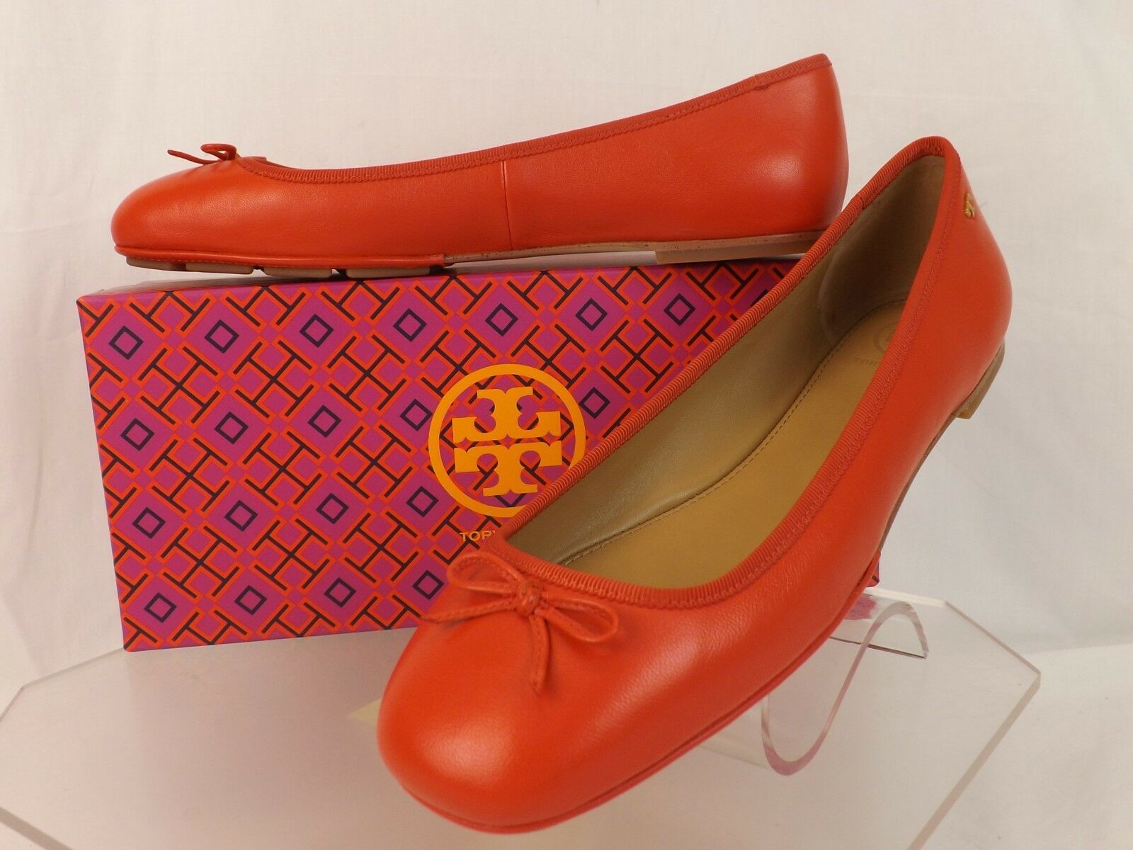 TORY BURCH POPPY ORANGE ORANGE POPPY LEATHER LAILA 2 BOW DRIVER GOLD REVA BALLET FLATS 10.5 138fa6