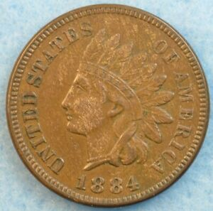 1884-Indian-Head-Cent-Penny-Very-Nice-Old-Coin-LIBERTY-Fast-S-amp-H-451
