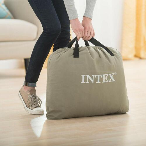 Intex Queen Deluxe Raised Air Mattress Bed with Built-in Electric Pump Pillow