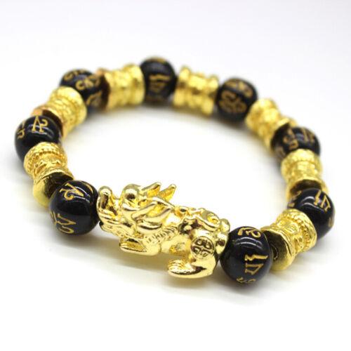 Feng Shui Black Obsidian Alloy Wealth Bracelet Original Quality
