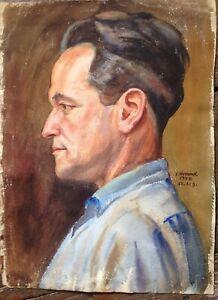 ERNST-HUMMEL-1898-1961-RITRATTO-ACQUERELLO-RITRATTO-AUTOGRAFATO-AUTORITRATTO