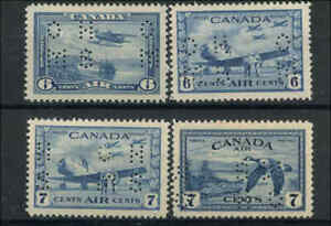 1928-46-Canada-Mint-H-VF-Scott-OC6-OC9-Official-Perforated-Air-Mail-Stamps
