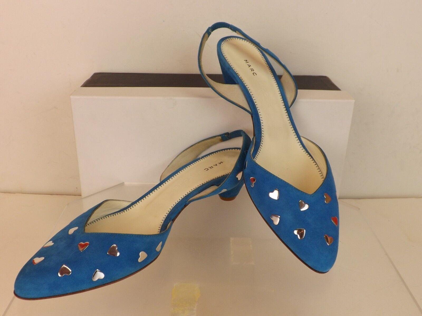 Nuevo corazón En Caja Marc Jacobs azul Suede corazón Nuevo de plata espárragos Charol Sandalias Bombas 38.5 Italia 82f568