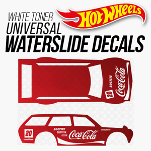 Hot Wheels COCA COLA Custom White Toner Universal WaterSlide Decal 1/64 Scale