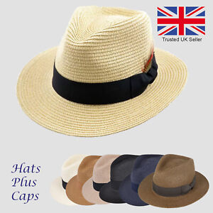 a2287525798bce Straw Fedora Summer Sun Wide Brim Trilby Panama Style Packable Beach ...