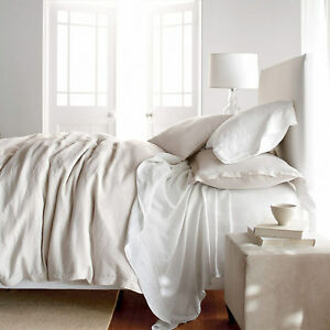 off white natural fiber pure belgian linen duvet cover set rustic