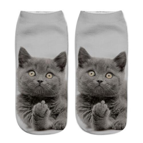 Funny Girls Casual Socks 3D Cute Cat Printed Anklet Socks Short Socks Xmas Gifts
